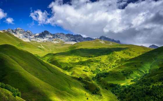 близко, svanetus, гора, georgia, tapety, небо, облако, природа, góry, тег