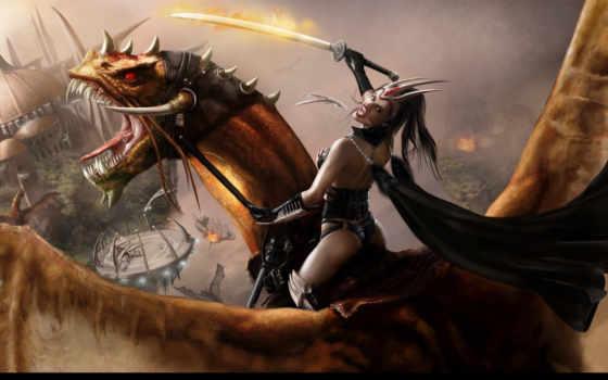 девушка, дракон