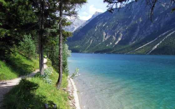 широкоформатные, озеро, природа