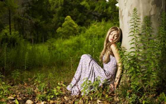 лес, lady, женщина