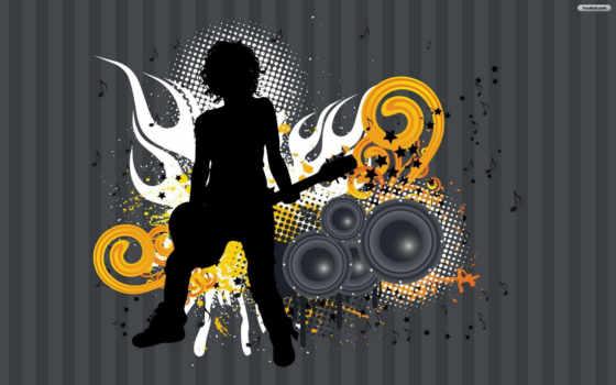 музыка, гитара, девушка