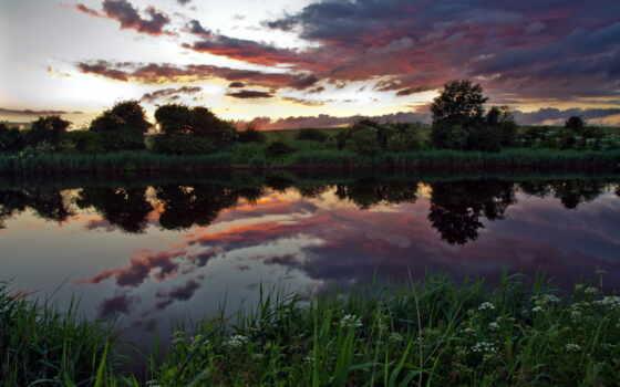 закат, природа, река, изображение, коллекция, темы, фоны, море, категории, дек,