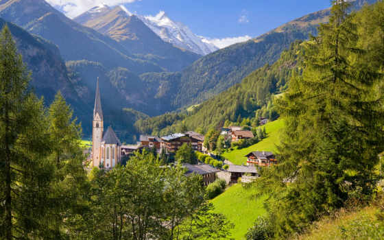 горы, деревня, austrian, trees, австрия, heiligenblut, природа, дома,
