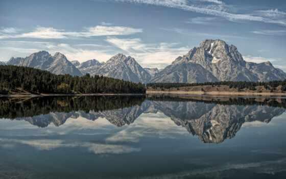 grand, teton, park, national, озеро, горы, wyoming, титон, природа, moran, сша,