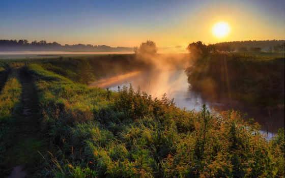 туман, со, рекой, утро, разных, которой,