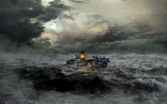 буря, море, сильно, лодка, шторм