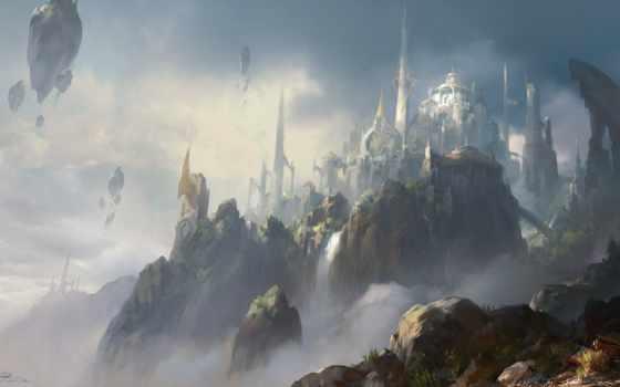 fantasy, облако, art, город, castle, поплавок, lumino, cliff, landscape, discover, rock