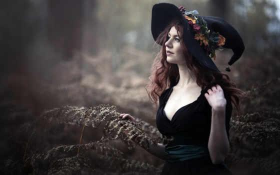 девушка, cosplay, женщина, witch, id, волосы, глаз, палуба, blue, шляпа