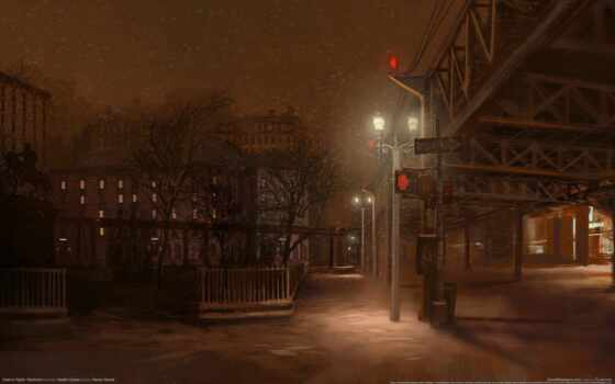 улица, twitter, little, anime, game, ночь, снег, small