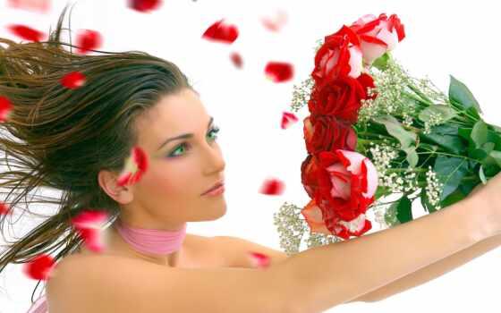 женщина, день, love, цветы, девушка, rosa, волосы, white, website, романтика
