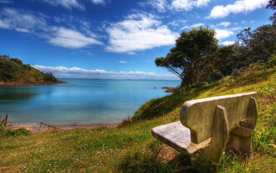 скамейка, моря