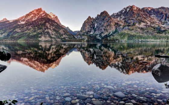 озеро, дженни, wyoming