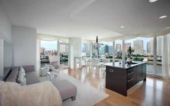 окна, вид, город, kitchen, комната, квартира, интерьер, картинка,