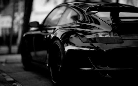 porsche, black, car