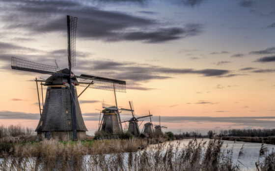 мельницы, kinderdijk, holland, landscape, разное,