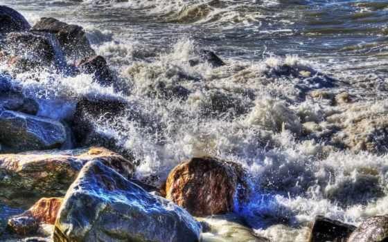 море, брызги, surf, камни, waves, скалы, пенка, картинка,