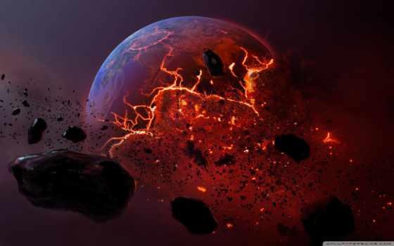 planet, мертвая, метеорит, land, горящая, осколки, bang,