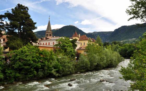 italy, мерано, architecture, italian, природа, река, город,