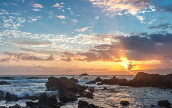 duvar, пляж, yeni, kağıtları, haberleri, kağıdı, закат, австралия, macquarie, порт,