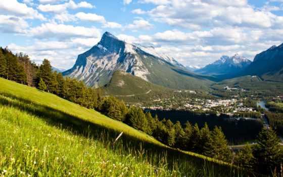 горы, канадский, banff, долина, national, лес,