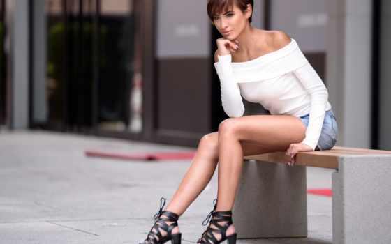 sitting, девушка, сладкое, изображение, молодой, люди,