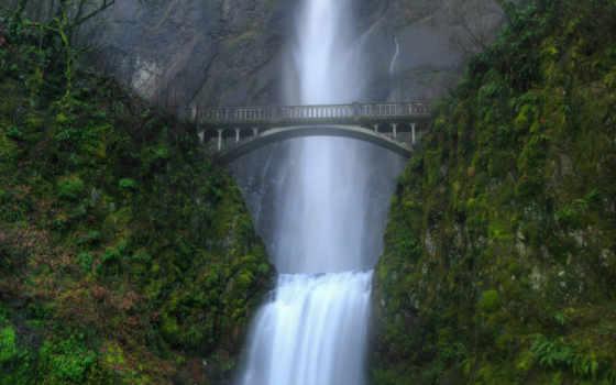 falls, multnomah, кении, водопады, reka, сша, водопад, природа, изображения, необычных,