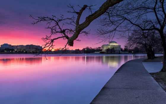 park, вечер, сша, trees, закат, река, небо, washington, blue, свет, purple