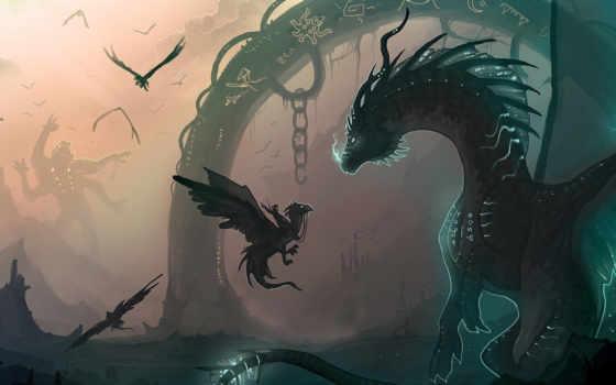 драконы, art, всадник