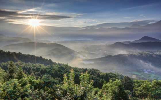 туман, горы, oblaka, sun, rising, картинка, небо, rays, утро, рассвет, природа,