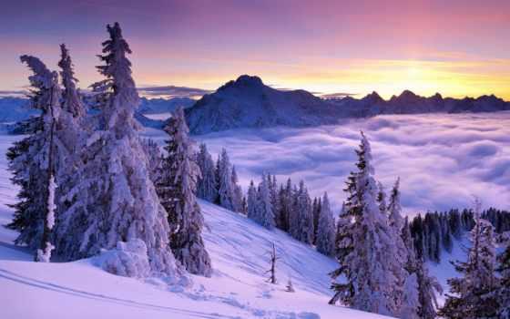 горы, пейзажи -, landscape, красивые, winter, снег, закат, природа, туман, oblaka, зимние,