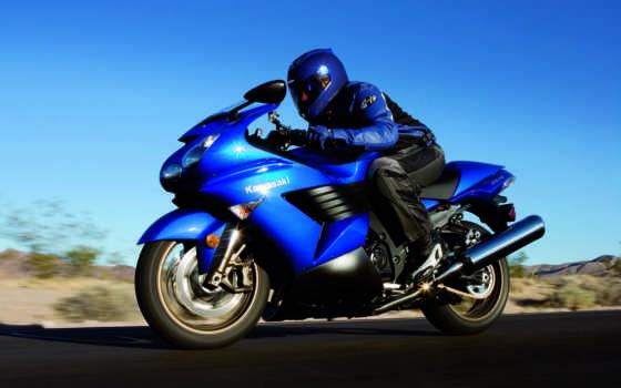 парень, мотоцикле, kawasaki, синем, мчится, мотоцикла, мотоцикл, едет, курс, zzr,