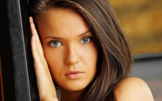 девушка, свет, голубые, губы, волосы, взгляд, рука, изображения,
