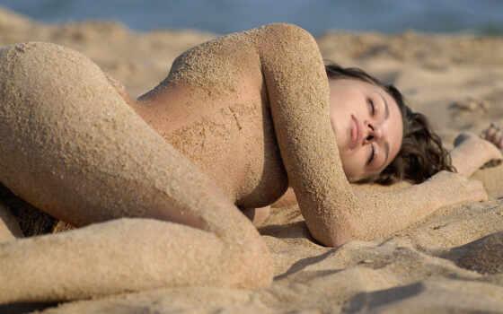 девушки, пляже, пляж