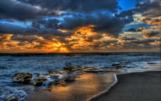 ocean, закат, rocks