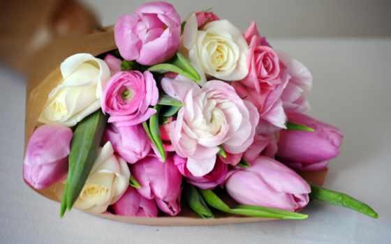 букет, пионы, лютики, розовые, тюльпаны, пионов, лежит, рождения,