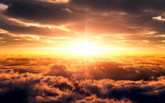 sun, rising, со, облаками, фотообои, небо, oblaka,