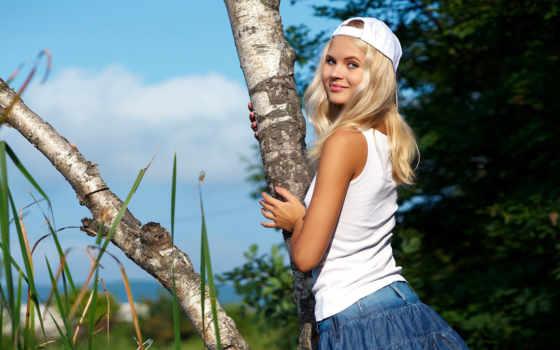 like, devushki, девушек, береза, рубашка, девушка, прозрачной, березы, blonde,
