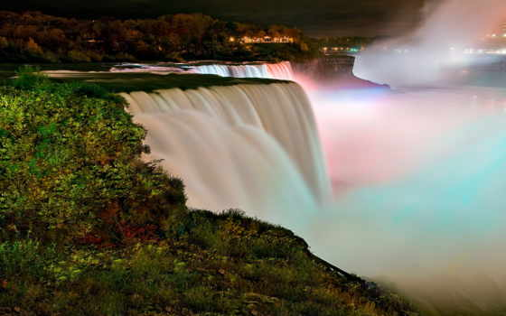 водопад, niagara, name, водопадов, реке, ночь, falls, трех, york,