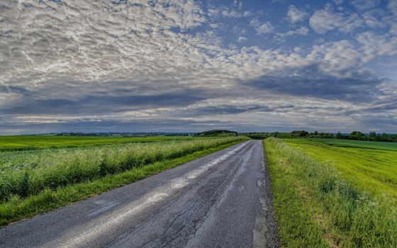 поля, природа, зелёный, поле, небо, usa, high,