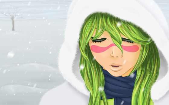 anime, зелёный, волосы, art, девушка, bleach, girls, cute, блич, нравится,