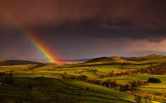 радуга, небо, поля