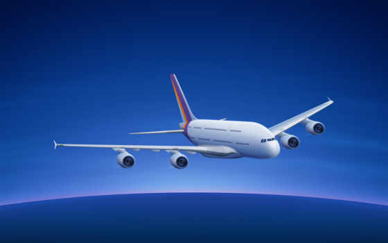 airbus, самолёт, горизонт,