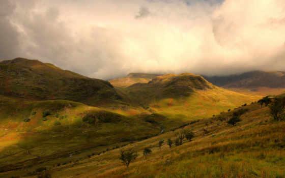 images, trees, slopes, mountains, fondos, wolke, фон,