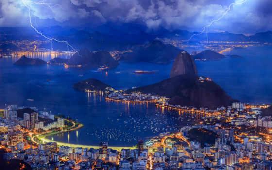 brazilian, рио, janeiro, город, со, буря, водопад, botafogo, небо, огни,