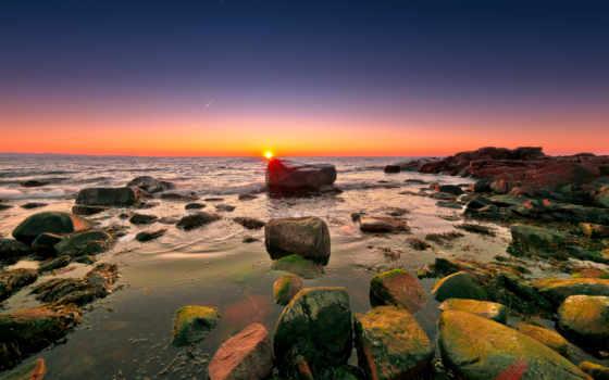 камни, море, красивые, скалы, небо, oblaka, природа, микс, stol, рассвет,