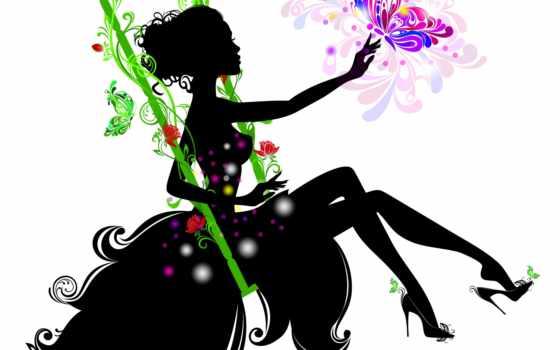 силуэт, девушка, cvety, платье, руки, ресницы, рука, white, качели, бабочка, devushki,