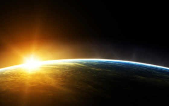 cosmos, land, sun, planet, rising, текстура, атмосфера, планеты, орбита,