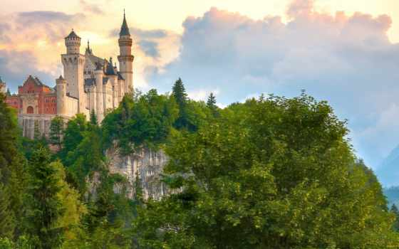germanii, castle, город, нойшванштайн, нойшванштайн, free, architecture