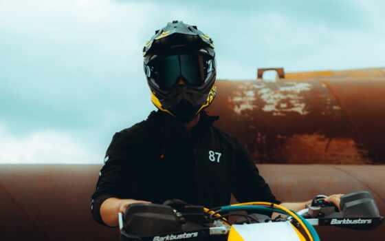 мотоцикл, black, мужчина, шлем, прокатиться, оранжевый, white, дневной, во, blue, apparel
