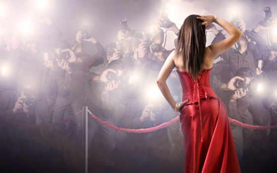 платье, девушка, красное
